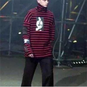 Raf Simons Big Bang G-Dragon Hip Hop a righe con cappuccio Via Man Fashion pullover dolcevita inverno Felpa formato S-XXL