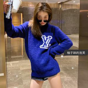2020 Autumn V saphirblau zeigen weiße lose BF-Stil Pullover Brief hautfreundliche Pullover languid