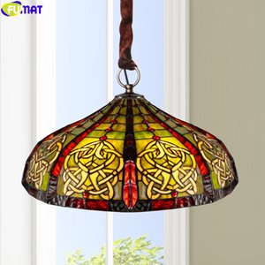FUMAT Tiffany Style Pendant Lamp Stained Glass Reverse Chandelier 16Inch Multicolorfull Handcraft House Decor Art European Light