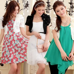 F~3XL New Summer Sweet Women Large Size All Match Appliques Lace Shrug Slim Bolero Outerwear Cardigan Short Sleeve Jacket Coats