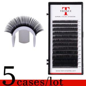 5 Bandejas / Lot Silk pestana Extensão Individual cílios naturais Individual Falso Lashes Para russa pestana Extensão