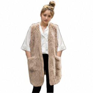 Popolare a maglia Fur Vest Gilet Gilet pelliccia reale gira giù Womens Jacket tuta sportiva del cappotto colete pele de Coelho nwYX #
