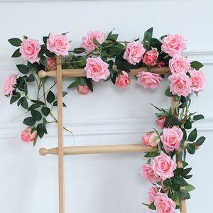 200cm 인공 장미 꽃 덩굴 가짜 장미 꽃 덩굴 아이비 웨딩 파티 장식 장미 꽃 아이비 홈 정원 장식