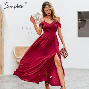 Simplee Sexy off shoulder maxi dress Elegant v-neck braces long party dress Ladies high waist autumn red evening party