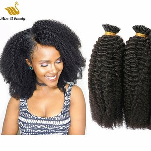 Afro American Curly 4b Hair Bundles Pre-bonded I tip Human Hair Extensions Fluffy Fashionable Hair Style Natural Color 100strands