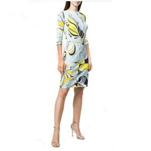 Новая мода 2020 epucci платья конструктора для женщин 3/4 рукавов цветов печати XXL Stretch Джерси Тонкого шелкового платье дня