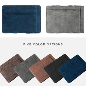 Mens Ultra Thin Wallest Small PU Leather Mini Size Magic Solid Color Card Holder Zipper Coin Purse Credit Bank Card Case