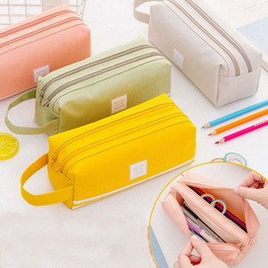 Double Zipper Large Pencil Case Kawaii School Pencilcase Clear Big Pen Box For Girls Stationery Supplies Pencil Box Bag Etui OCOb#