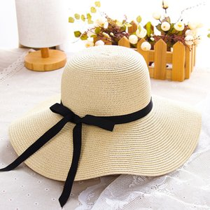 Yaz Son Desen Kadın Şapkalar INS Moda Bow Knot Bayan Şapka Büyük kenarlı 5 Renk Güzel Charm Kız Plaj Şapka LJJA434