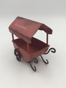 8.5x5.5xH8.5CM Mini garden carts iron carts Mini wagons Francais Bonne journee Dollhouse Accessories antique red garden buildings