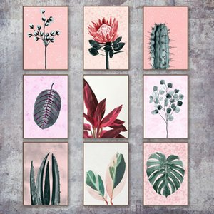 Plantas coloridas tela de pintura Wall Art Pictures Cacto folhas Nordic Canvas bebê Room Living Room Nursery Home Decor No Frame