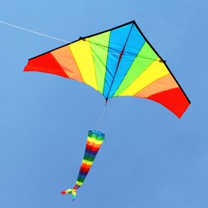 Weifang 1.8 m triangle colorful rainbow cloth Weifang kite 1.8 m rainbow long tail kite children's cartoon long tail