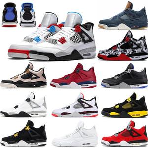2020 Bred Kara Kedi 4 4s basketbol ayakkabıları beyaz çimento encore kanatlar kırmızı single stilist spor ayakkabıları IV Saf para eğitmenler ateş mens