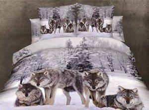 늑대 이불 이불 자연 순면 회색 배경 4PC 세트 무료 배송 인쇄 퀸 침구 3D 디지털 늑대를 커버