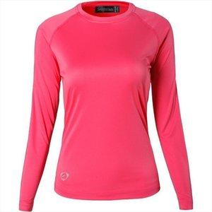 Jeansian женщины Upf50 Ув Открытой Твердая Спорт Tee Shirt Футболка Tshirt Long Beach Рукав Лето Swt246 Красная