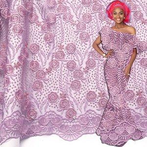 라일락 최신 아프리카 레이스 패브릭 2020 돌 그물 Net Nigerian 프랑스 레이스 패브릭 아프리카 패브릭