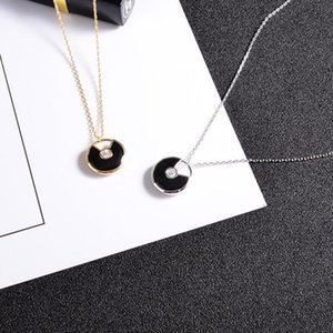 Korean version of the single drill lucky charm necklace black onyx pendant small round female short paragraph clavicle chain 18K color gold