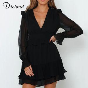 DICLOUD Sexy V Neck Ruffle Mini Party Dresses Black Red Women Long Sleeve Chiffon Dress 2020 Spring Elegant Ladies Clothing CX200708
