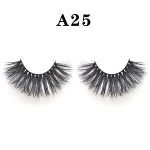 1 زوج 25MM جلدة Dramtic 6D 100٪ المنك الشعر الرموش الصناعية Wispies منفوش كاملة شرائط الرموش الطويلة اليدوية تمديد العين