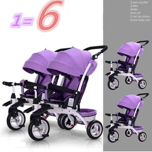 التوائم الجانب طفل من قبل الثلاثيه الجانب الدراجة عربة 3 في 1 يمكن الجلوس والكذب يمكن تقسيم دراجة ثلاثية العجلات طفل ركوب النوم مقطورة