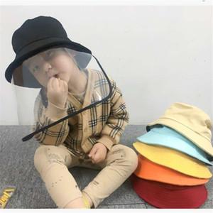 Kinder-Anti-Staub-Wannen-Hut Klar Vollgesichtsmaske Schirmmütze Junge Mädchen Cotton Fischermütze mit Face Shield Kindern Anti Saliva Sonnenhut Geschenken