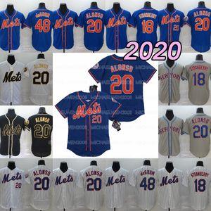 20 Pete Alonso 20/21 Temporada 48JacobdeGrom 18 Darryl Strawberry bordado costurado 100% Baseball Jerseys shirt pronto para enviar Boa Qualidade