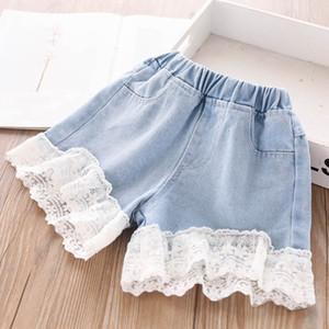 Summer 2020 new lace girls shorts soft denim kids shorts fashion girls jeans kids jeans kids designer clothes girls pants wholesale B1449