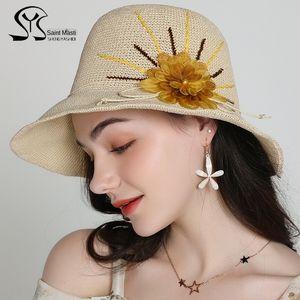 2020 new foldable Silk New folding fashion travel sun hat hand-made sun hat for children