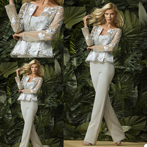 Elegant Mother of the Bride Dresses with Long Sleeve Jacket Lace Appliques Evening Gowns Custom Made Pants Suit Wedding Guest Dress