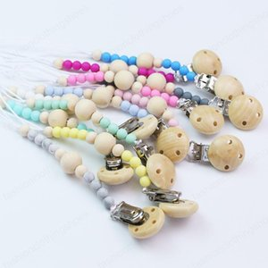 12 Colors Pacifier Clip Chain Baby Infant Soothie Accessories Silicone Wooden Beads Prevent drop down Paci Holder Clips Teether Toy