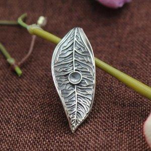 Thai argento Argento 925 supporto semi Vintage pendente del foglio di art deco 7x7mm rotonda Cabochon Ambra Agata Turchese Impostazione