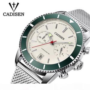 CADISEN 2019 men's watch fashion sports quartz stainless steel men's watch water meter