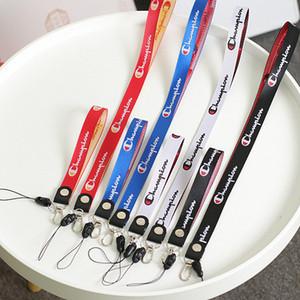 Clip Carta Campeón Moda correa de cuello de cordón con metal plateado para Mujeres Niñas Tecla Teléfono correas Llaveros cuerda de seguridad Oranment 5 Color