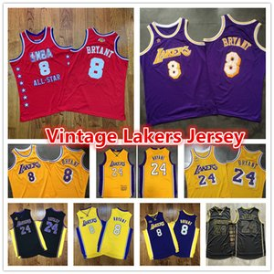 Mens Throwback Authentic Vintage roxo 8 Los AngelesLakersBryant Jersey ouro Shorts Amarelo 2008-09 96 60 Basketball Jerseys