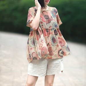 omen's Clothing Johnature Casual Fashion Floral Print Short Sleeve Tops New 2020 O-Neck High Waist Summer Women Loose Linen Pullover T-Sh...