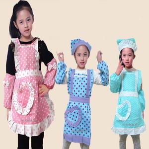 Children Baby Kids Apron Sleeves Hat Set Big Pocket Kitchen Baking Painting Cooking Craft Art Bib Apron S M L Print Logo