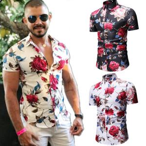 Tops 2020 nuovi uomini dimagriscono fit fiore stampato Camicie Uomo manica corta floreale da uomo Basic Shirt casual Plus Size Abbigliamento Uomo