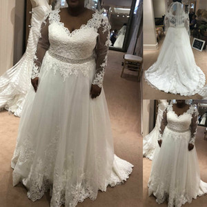 Vintage Full Lace 2021 Plus Size Wedding Dresses Long Sleeves V Neck Elegant Covered Button Sweep Train Bridal Gowns Rmantic Wedding Wear