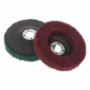 Nylon Maquinaria Metalurgia fibra muela abrasiva de pulido de pulido abrasivo y el disco de cepillo rotativo herramienta r9oF #