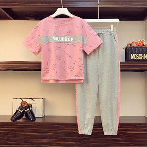 iECWv Большого размера женской одежды мм летней одежда слегка возрастной похудение скрытия мясного два костюма-L NV Чжуана мм брюки ка Жировой Западная ул