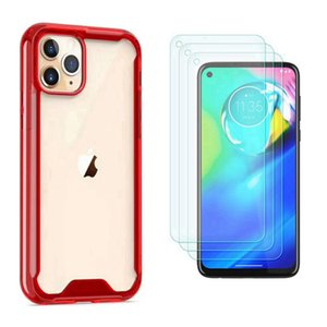 For Samsung A21S A11 A51 A71 A01 A70E A81 A91 5G Translucent Acrylic Phone Case Shockproof Anti Drop Round Edge Cover+Clear Tempered Glass