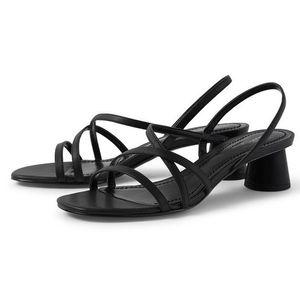 Resmi elbise Partisi GENSHUO Yaz Sandal Kadınlar Med Heeled Sandalet Chunky Blok Topuk Siyah Slingback Açık Burun Sandal Ayakkabı