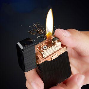 금속 가스 라이터 부탄 터보 라이터 두 불길 담배 남성을위한 액세서리 가제트 흡연 라이터 금속 라이터를