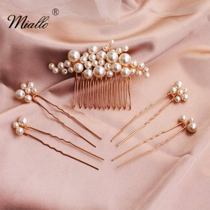 Miallo 2020 5 pcs set Pearls Wedding Hair Comb Bridal Hair Pins Clips Women Jewelry Accessories Handmade Headpieces