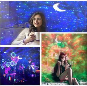 Hot LED Sky Ocean Proyector Night Light Color Cambiador de agua Lámpara estrellada de la onda con la estrella de la luna para el dormitorio Fiesta de techo relajante