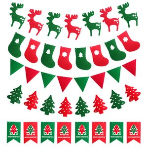 3m DIY Non-woven Fabric Xmas Flags Santa Clause Floral Bunting Banners Merry Christmas Decoration Home Shop Market Room Decor