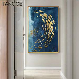 Özet Altın Balık Çinli Tuval Big Blue poster Lüks Wall Art For Salon Koridor Altın tableaux Resmi yazdır Boyama