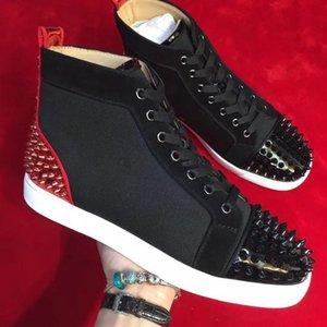 Горячие Мужчины Женщины Red Bottom Shoes Black Suede Leather с Щепка Шипы Toe Назад хай-кроссовки, дизайнер бренда Spikes Toe Повседневная обувь 35-47