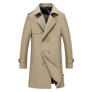 Mens Lapel Neck Trench Coats Autumn Winter Solid Color Slim Long Coats Male Casual Single Breasted Outwear