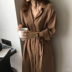 Bazhenova 2020 Sonbahar Kadın Kore Stil Gevşek Coat Long Dantel-up Tek Breasted Trençkot T1506